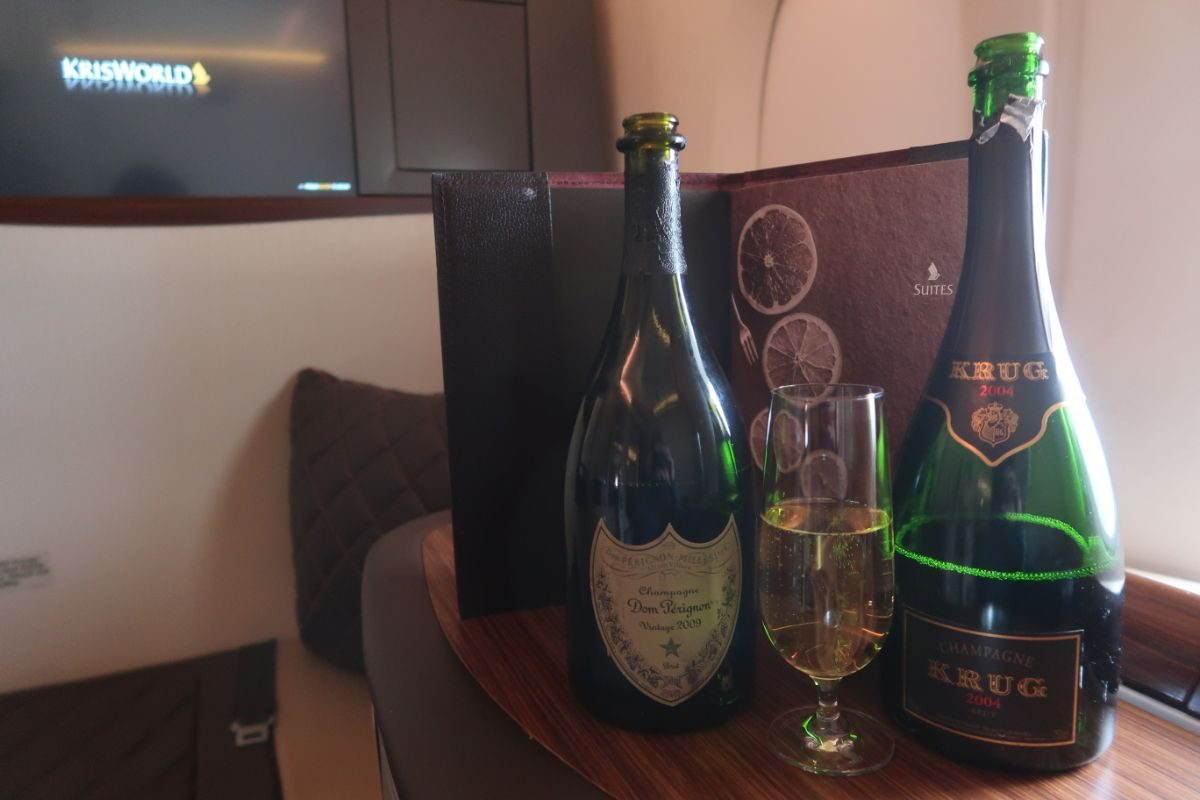 Singapore Airlines old A380 First Class Suite DOM Perignon and Krug