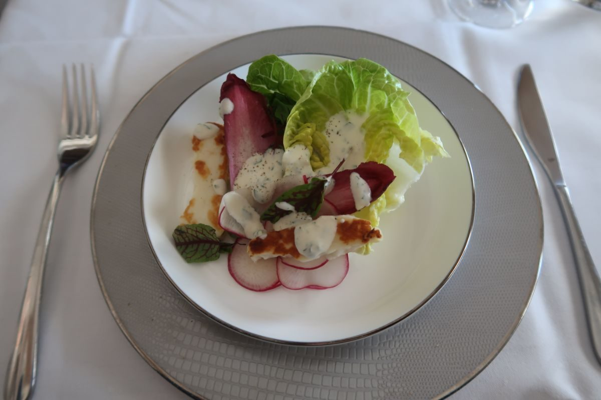 Singapore Airlines old A380 First Class Suite salad