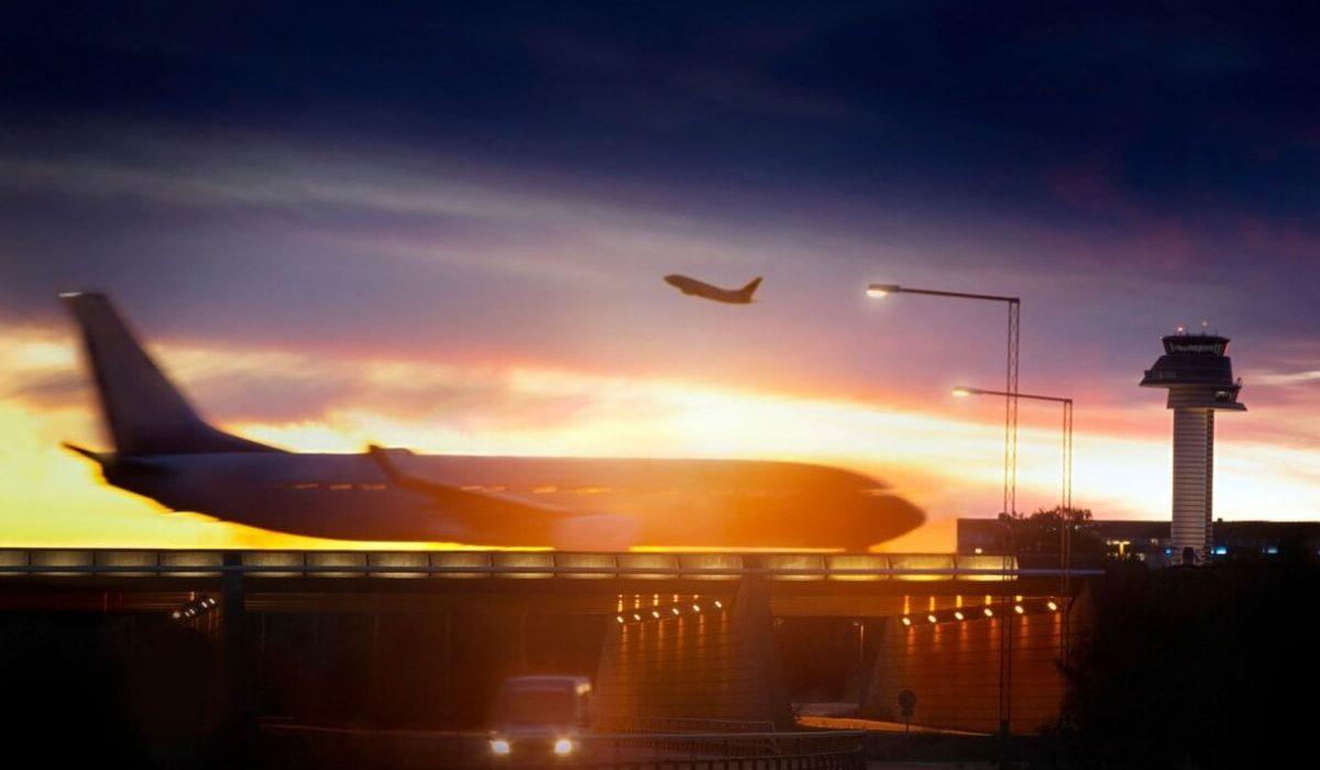 plane taking off at sunset point hacking
