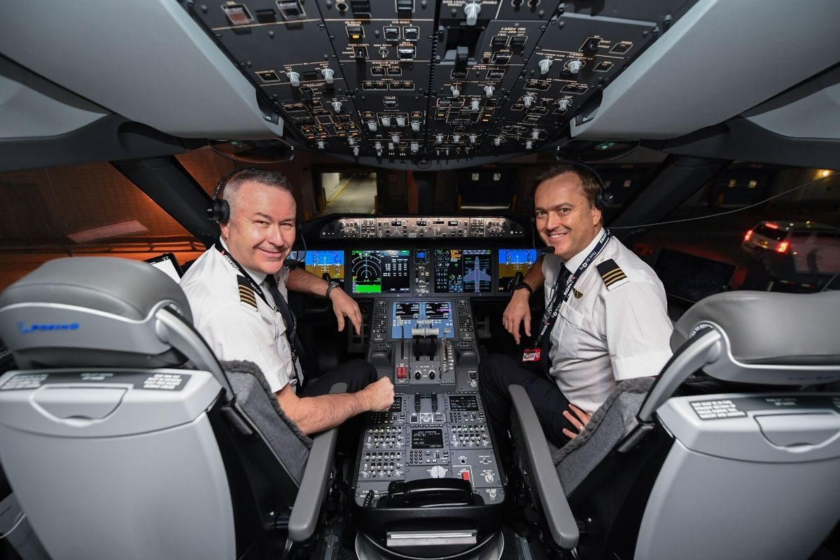 qantas research flight in the cockpit