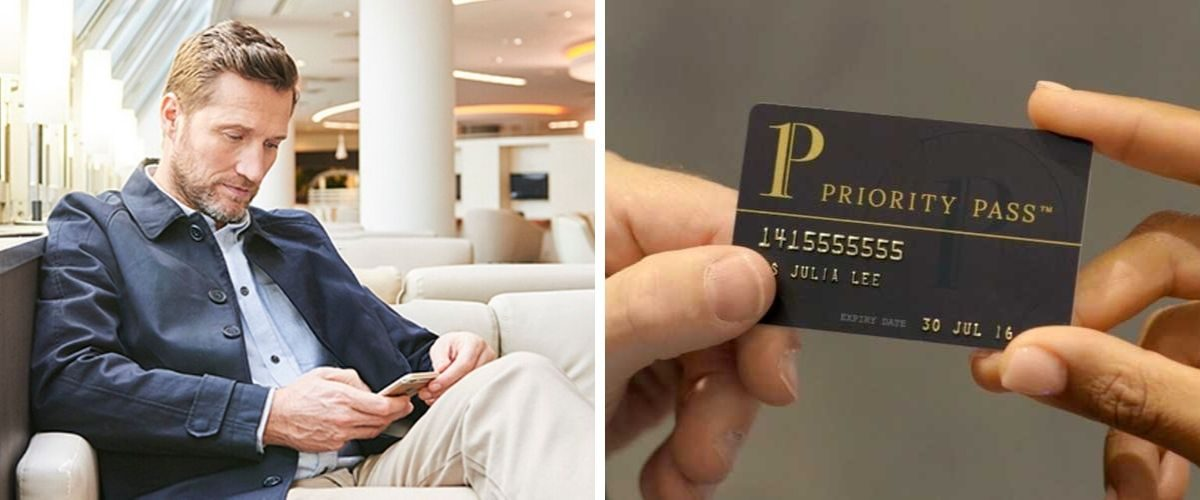 Priority Pass member in lounge and card