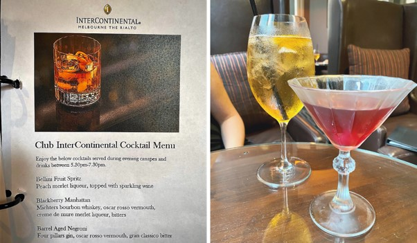 Intercontinental Melbourne The Rialto club lounge cocktail montage