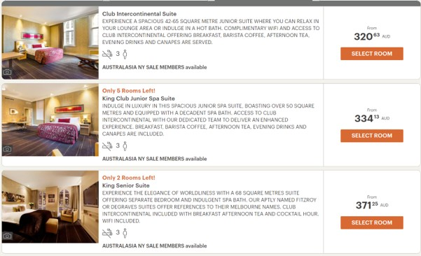 Intercontinental Melbourne The Rialto room rates 7 June 2020
