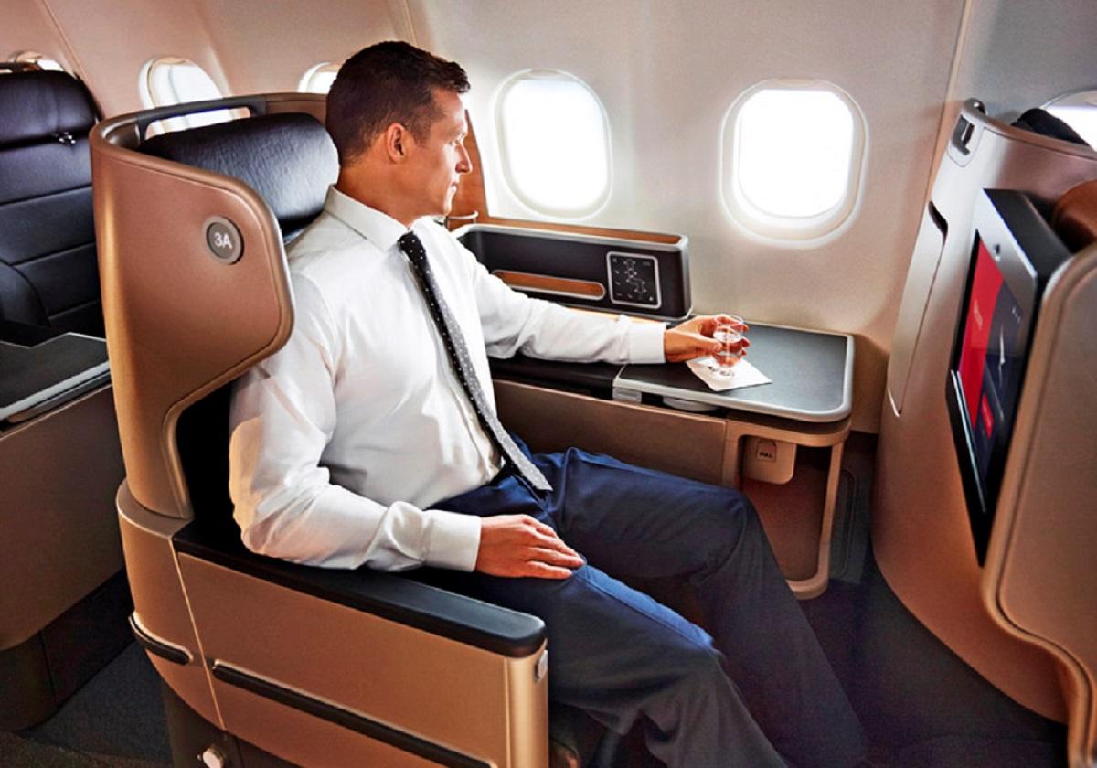 business class qantas american express