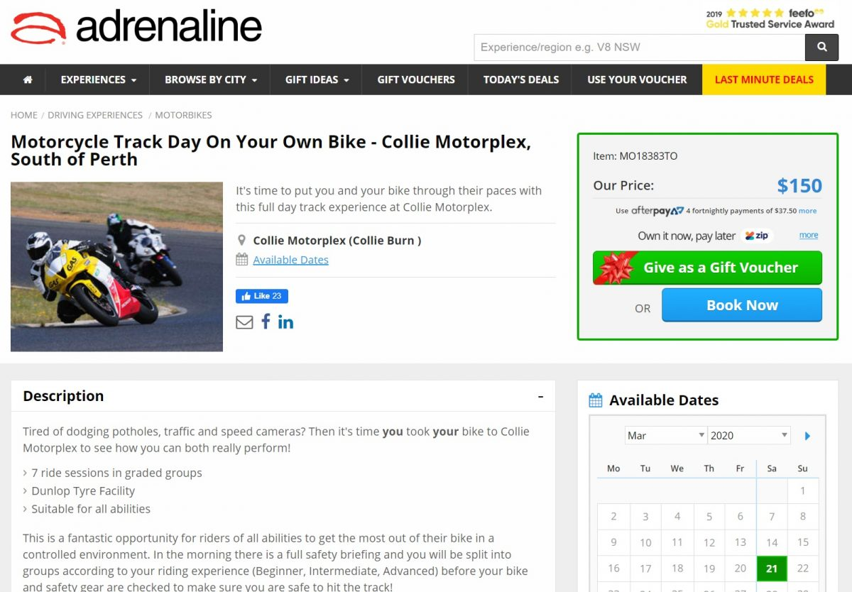 adrenaline booking 1