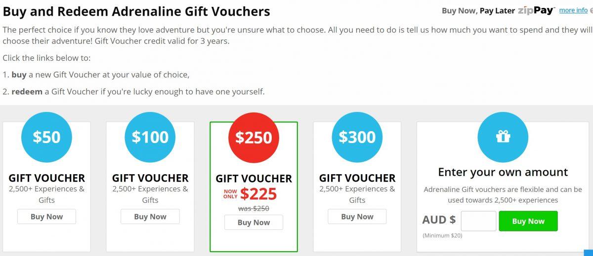 adrenaline gift voucher page
