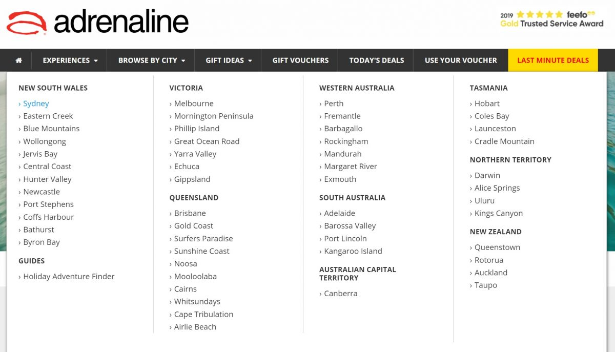 adrenaline location page