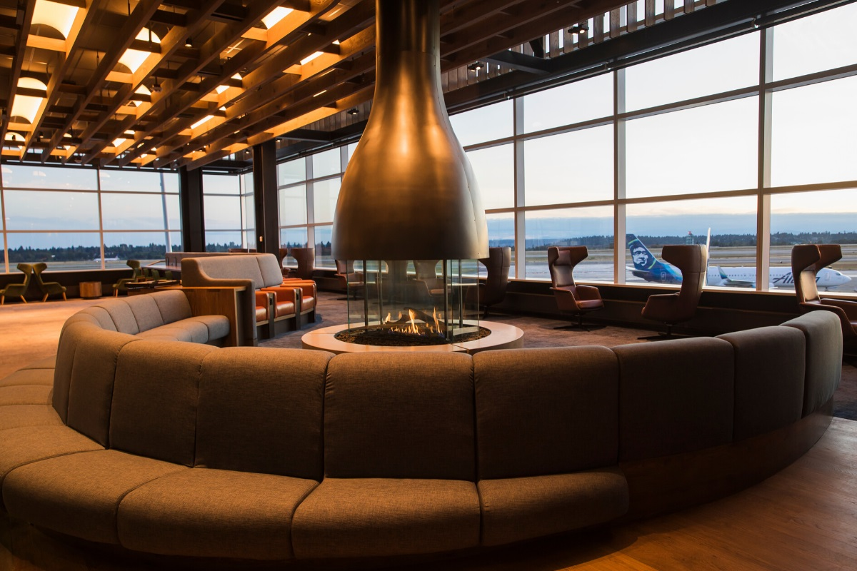 alaska airlines lounge fireplace