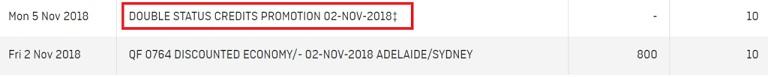 qantas double status credits