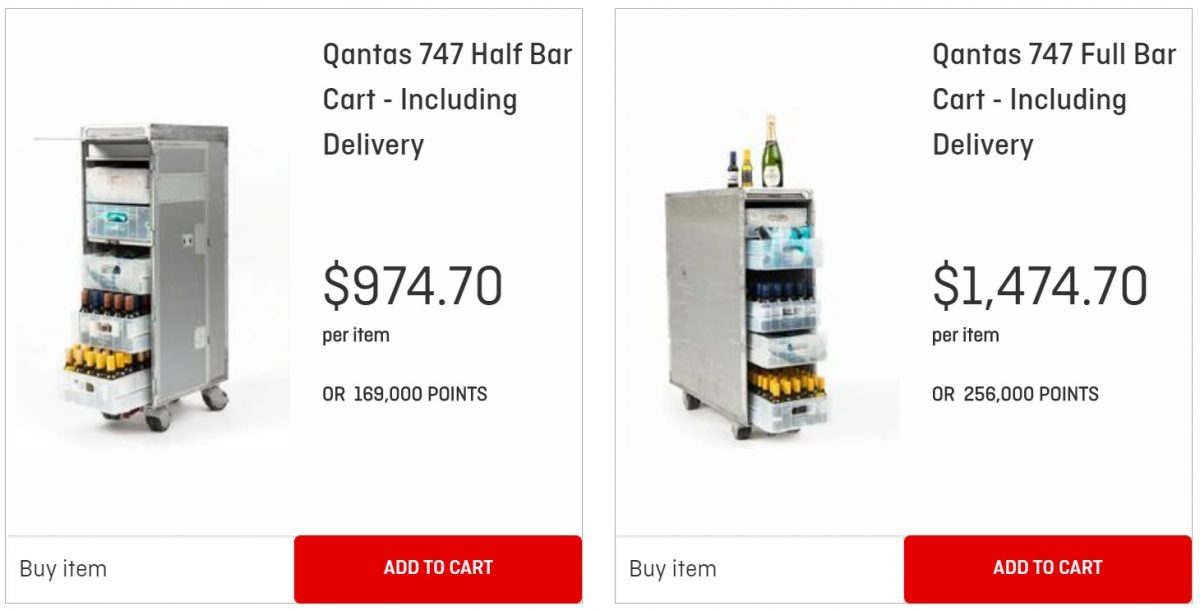 money and points costs of qantas 747 bar cart