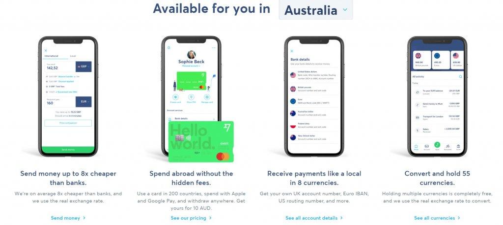 wise Australia mobile application