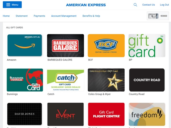 amex gift card redemptions