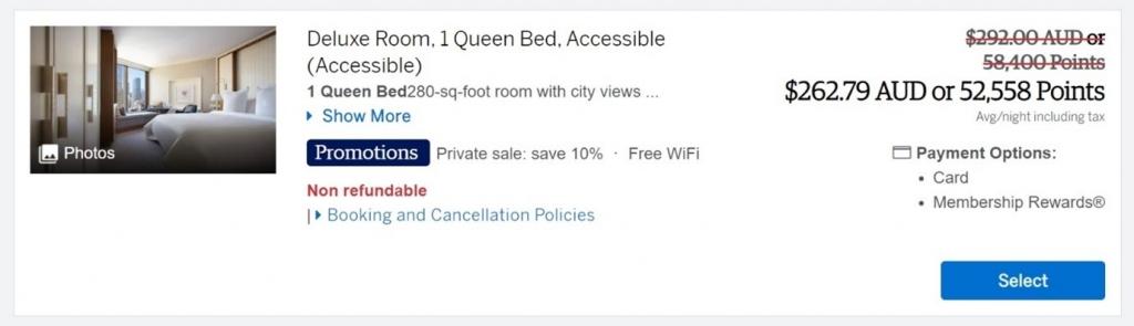 Amex Exclusive Explorer hotel booking