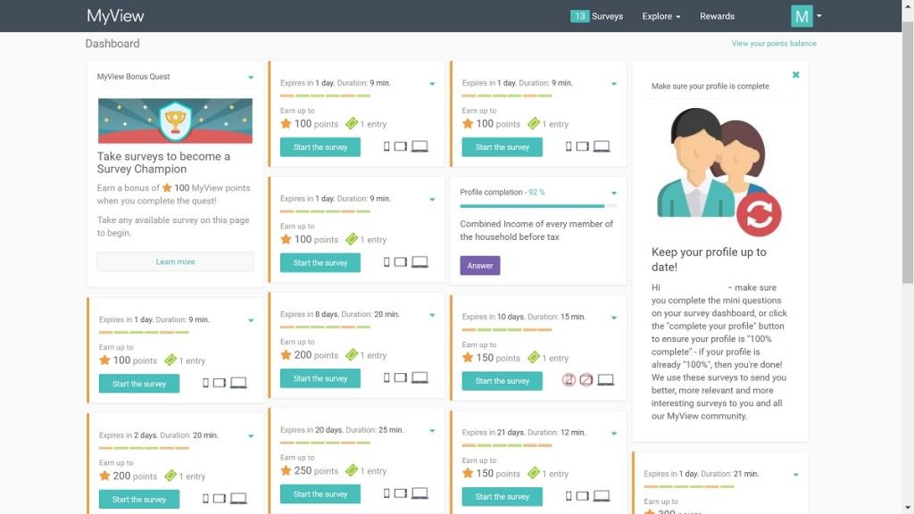 myview australia review surveys screenshot