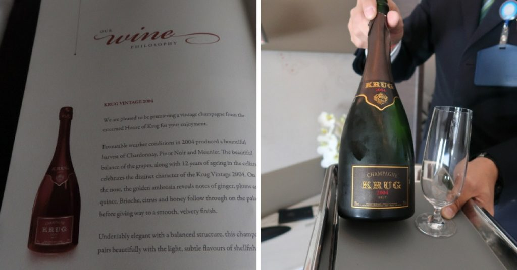 Singapore Airlines A380 first class suite Krug non vintage on pour