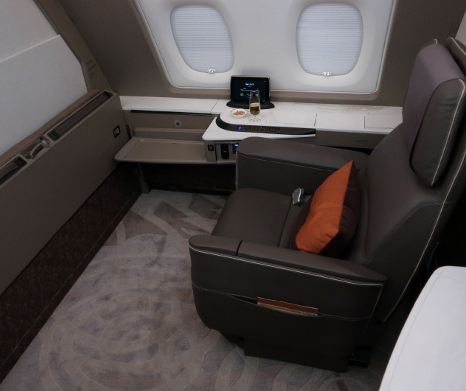 Singapore Airlines A380 first class suite eight hour flight from Sydney to Singapore