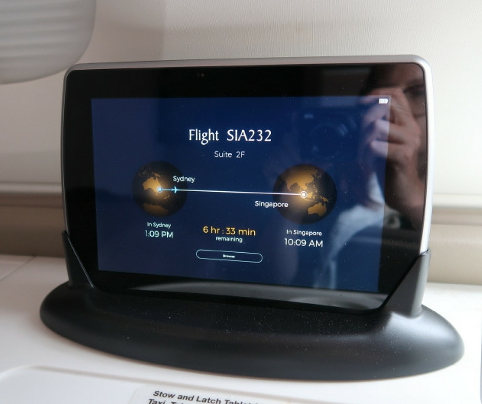 New Singapore Airlines A380 first class suite - inflight navigation and tv controls